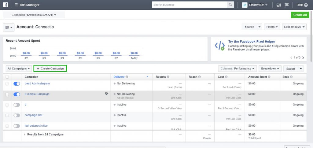 Image of Facebook Ad Manager - Create Campaign