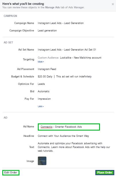 Image of Instagram Lead Ads - Ad Order Summary