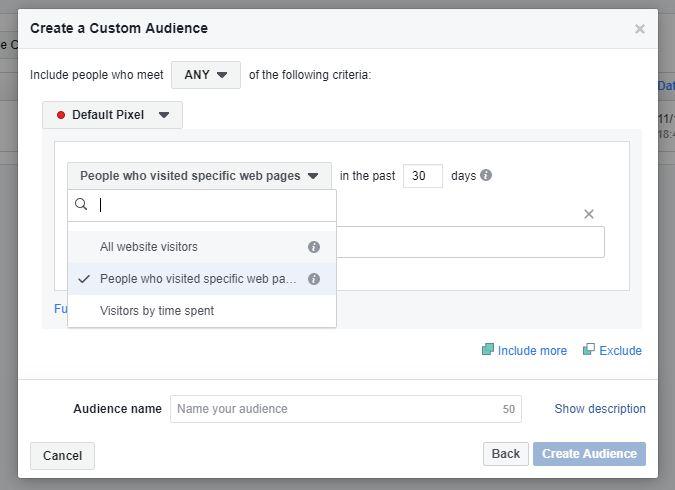 Facebook Website Traffic options