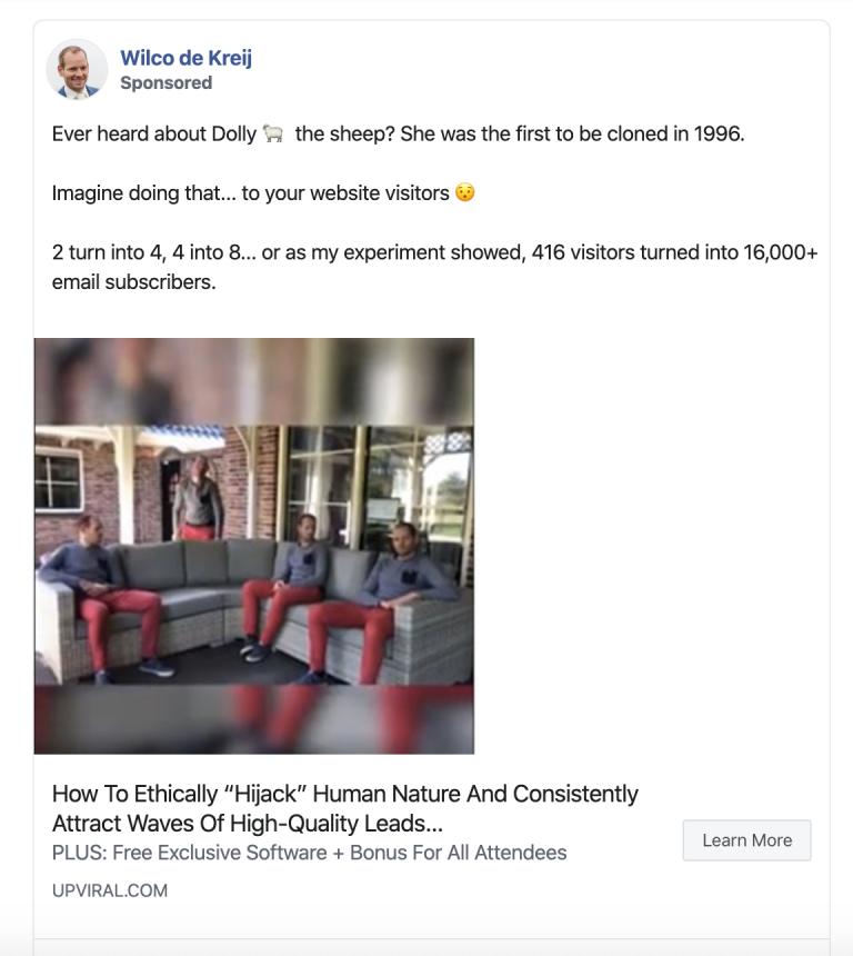 storytelling facebook ad